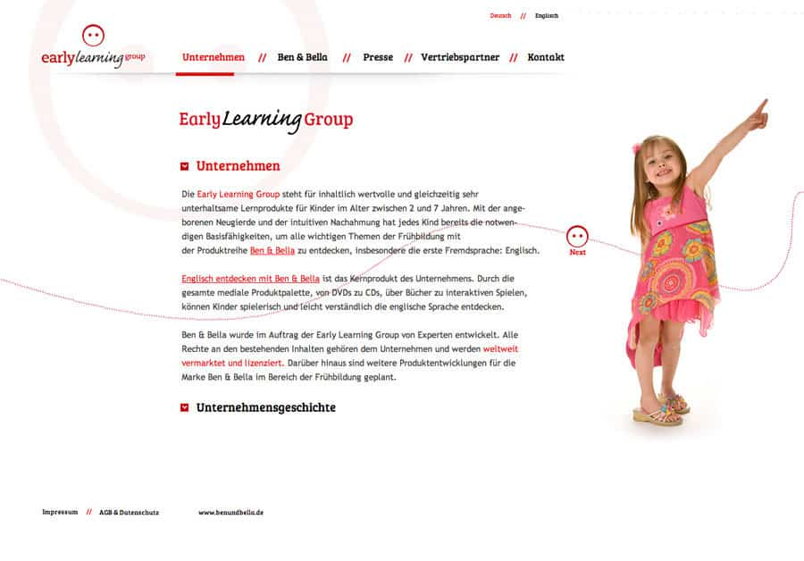Konzept, Webdesign, Click and Scroll Webseite Early Learning Group